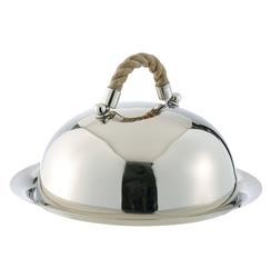 Nautical Rope Polished Silver Modern Serving Dome and Charger | DKL-890083