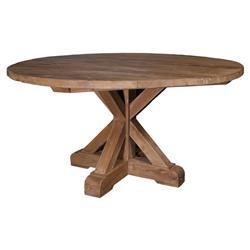 Nancy Rustic Brown Reclaimed Teak Wood Round Outdoor Dining Table