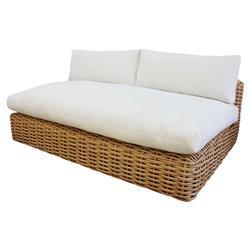 Phoebe Coastal Beach White Cushion Brown Rattan Outdoor Sofa