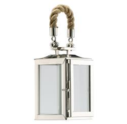 Coastal Rope Polished Silver Modern Square Candle Lantern | DKL-890084