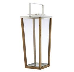 Aiken Modern Wood Glass Tall Candle Lantern - 34 Inch