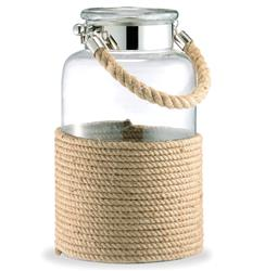 "Spring Lake Coastal Style Glass and Cord Apothecary Candle Lantern - 20""H 