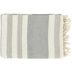 Perry Modern Classic Woven Light Grey Striped Cotton Throw Blanket