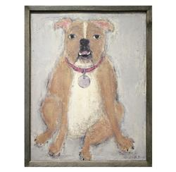 Bulldog Reclaimed Wood Art Print Wall Art