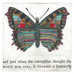 Colorful Butterfly Reclaimed Wood Art Print Wall Art - Large | SUGAR-AP190-3x3