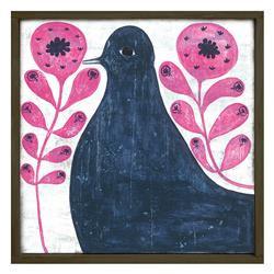 Black Bird in Pink Reclaimed Wood Vintage Wall Art - Small | SUGAR-LAP126-OX