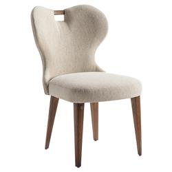 Adriana Hoyos Rumba Modern Classic Beige Upholstered Curved Back Dining Side Chair