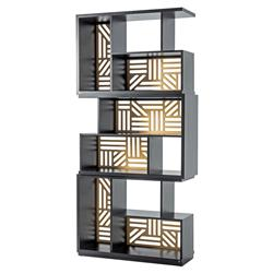 Adriana Hoyos Rumba Modern Classic Gold Accent Black Wood Bookcase