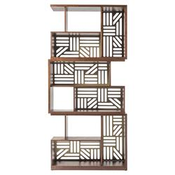 Adriana Hoyos Rumba Modern Classic Gold Accent Brown Wood Bookcase