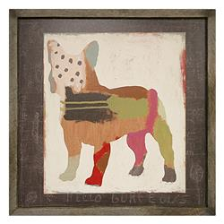 French Bulldog 'Frenchie' Painted Reclaimed Wood Frame Wall Art | SUGAR-AP199-GW