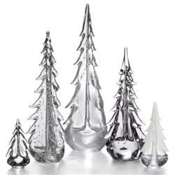 Simon Pearce Modern Classic Glass Family of Trees - Set of 5