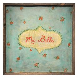 Ma Belle Turquoise Red Painted Reclaimed Wood Frame Wall Art