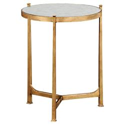Jonathan Charles Milo Mid Century Églomisé & Gilded Iron Medium Lamp Side End Table