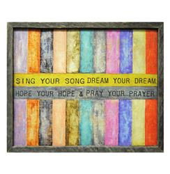 Sing Your Song Colored Stripe Reclaimed Wood Wall Art | Kathy Kuo Home