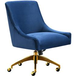 Mandy Modern Classic Navy Velvet Office Swivel Chair