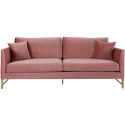 Monica Modern Classic Rose Velvet Gold Legs Sofa