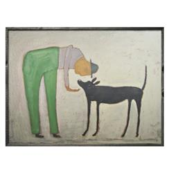 Man With Black Dog Reclaimed Wood Wall Art - 36 Inch