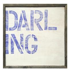 Large Block 'Darling' Blue Reclaimed Wood Frame Wall Art