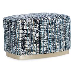 Caracole Small Wonder Modern Classic Blue Upholstered Rectangular Ottoman