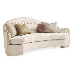 Caracole SheS A Charmer Modern Classic Beige Linen Tufted Loveseat