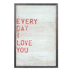 Every Day I Love You Red Block Wood  Wall Art - 25x18