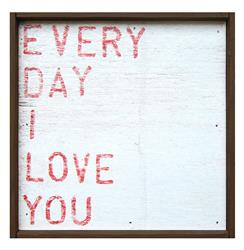 Every Day I Love You' Red Block Reclaimed Wood Wall Art - Small