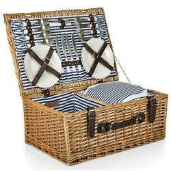 Sandra Modern Classic Brown Handwoven Willow Picnic Basket with Serveware for 4