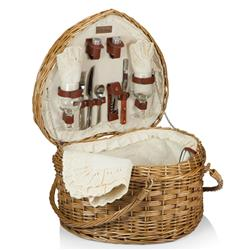 Lauren Modern Classic Brown Willow Cream Heart Picnic Basket with Serveware for 2