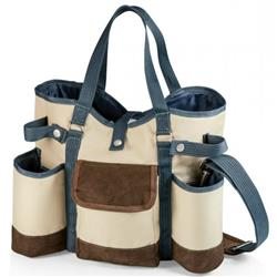 Kelly Modern Classic Beige Blue Trim 2 Bottle Wine and Cheese Tote Bag