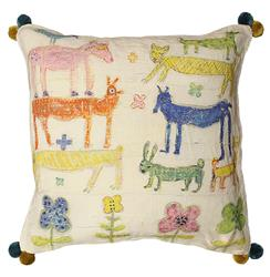 Colorful Animals Childrens Room Flowers Linen Down Throw Pillow