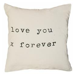 "Love You X Forever"" Vintage Typewriter Large Linen Down Throw Pillow"