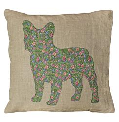 French Bulldog Hand Rustic Linen Ditsy Floral Down Throw Pillow | SUGAR-PC146