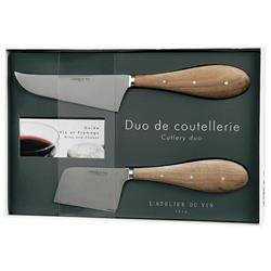 L'Atelier Du Vin Modern Classic Stainless Steel Wood Cheese Knives - Set of 2