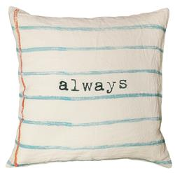 Always Blue Lined Vintage Typewriter Linen Down Pillow - 24x24