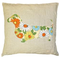 Dachshund Floral Print Rustic Linen Large Down Throw Pillow