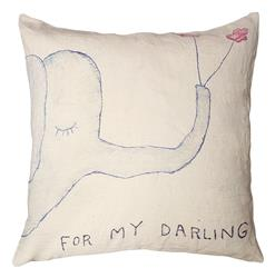 For My Darling Elephant Drawing Down Throw Pillow - 24x24
