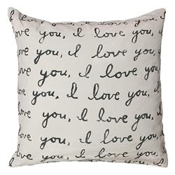 Letters For You I Love You Linen Large Down Throw Pillow