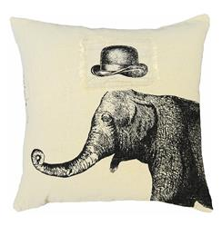 Hat Elephant Hand Printed Linen Down Throw Pillow - 24x24