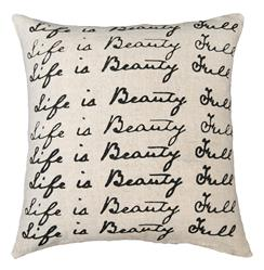 Life is Beauty Full Script Linen Down Throw Pillow