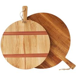 Chad Modern Classic Brown Oak Round Serving Tray - Small