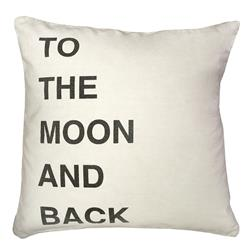 To The Moon and Back Bold Script Linen Down Throw Pillow