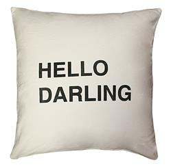Hello Darling Bold Script Linen Down Throw Pillow