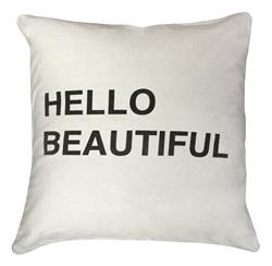 Hello Beautiful Bold Script Linen Down Throw Pillow