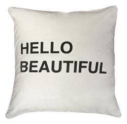 Hello Beautiful Bold Script Linen Down Throw Pillow - 24x24