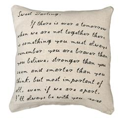 """Sweet Darling"" Love Letter Script Linen Down Throw Pillow 