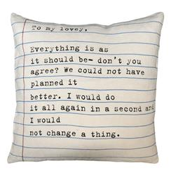 """To My Lovey"" Vintage Typewriter Script Linen Down Throw Pillow"
