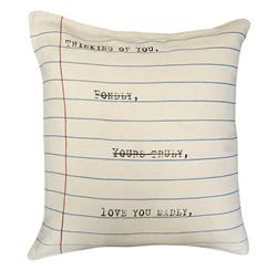 Thinking Of You' Vintage Typewriter Linen Down Throw Pillow