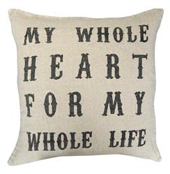 My Whole Heart Vintage Type Linen Down Throw Pillow