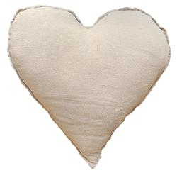 Linen Frayed Edge Rustic Heart Shaped Down Pillow - 24x24