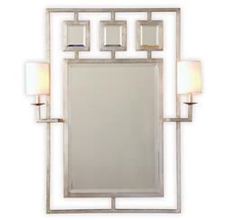Park Avenue Hollywood Regency Silver Leaf Wall Mirror With Sconces